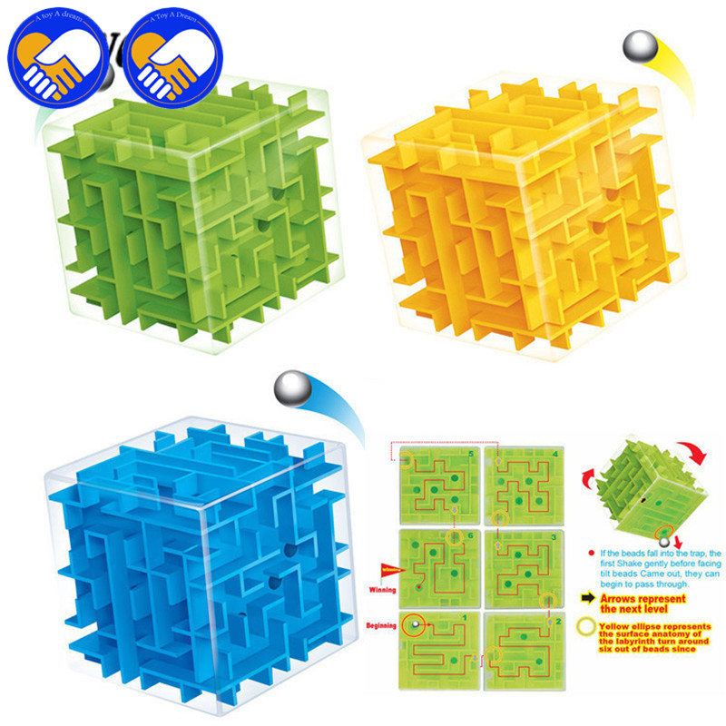 2 Pcs 3D Mini Maze Magic Speed Puzzle Labyrinth Rolling Ball Toy Hollow Cube As Money Cans Puzzle Game Intelligence Toy