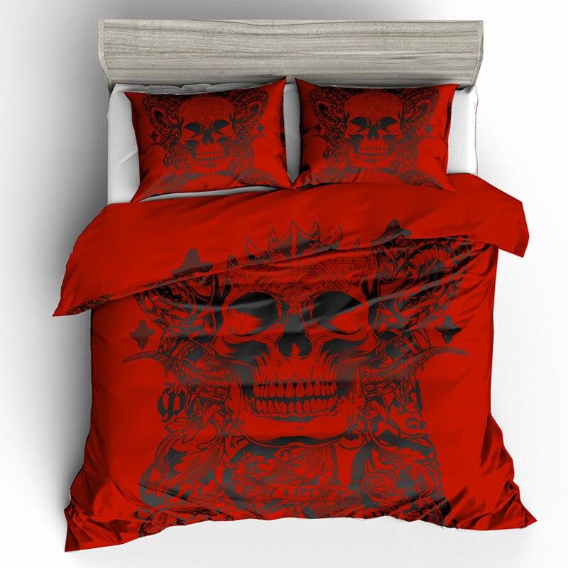 Crânios Fanaijia rei Conjunto de Cama com fronha capa de edredão 3D do crânio do açúcar vermelho AU Rainha Cama bedline