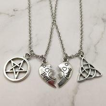 Conjunto colar de amizade de bruxas e triquetra, 2 peças, melhor amigos