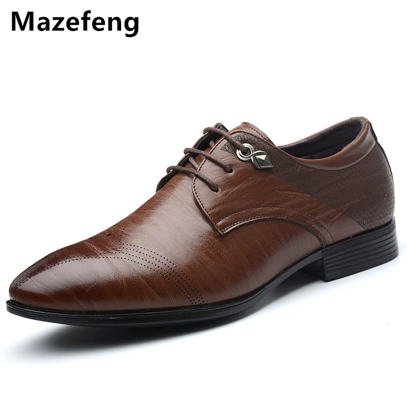 Mazefeng 2017 Spring Shoes Male Leather Shoes High quality Breathable Men Dress Shoes Solid England Style Business Shoes