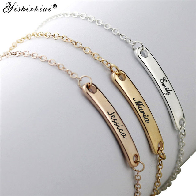 Custom Name ID Bar Bracelet Gold Stainless Steel Initial Charm Bracelets For Women Personalize Jewelry Best Friends Gift