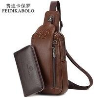 FEIDIKABOLO Brand Bag Men Chest Pack Vintage Rucksack Chest Bag Leather Travel Men Crossbody Bags Single