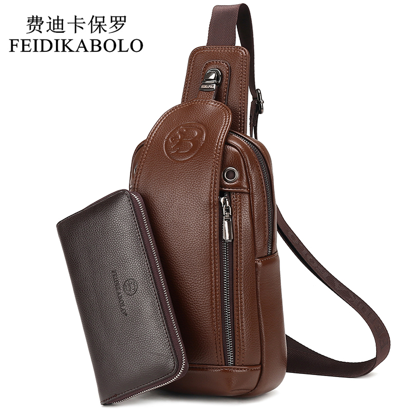 FEIDIKABOLO Brand Bag Men Chest Pack Vintage Rucksack Chest Bag Leather Travel Men Crossbody Bags Single