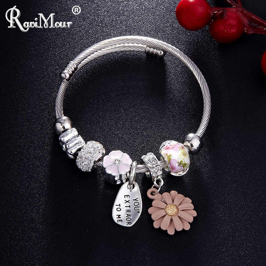 RAVIMOUR Punk Stainless Steel Chain Charm Bracelets for Women Crystal Bead Letter Flower Bracelet Bangle Fashion Cuff Wristband