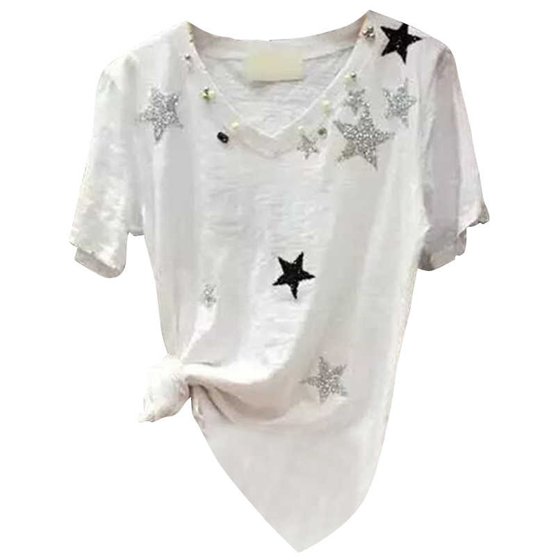 Sommer und Herbst Neue kurzarm T-shirt Weibliche V-ausschnitt Lose Bambus Sweis Baumwolle Wilden Shirt Hemd Flut