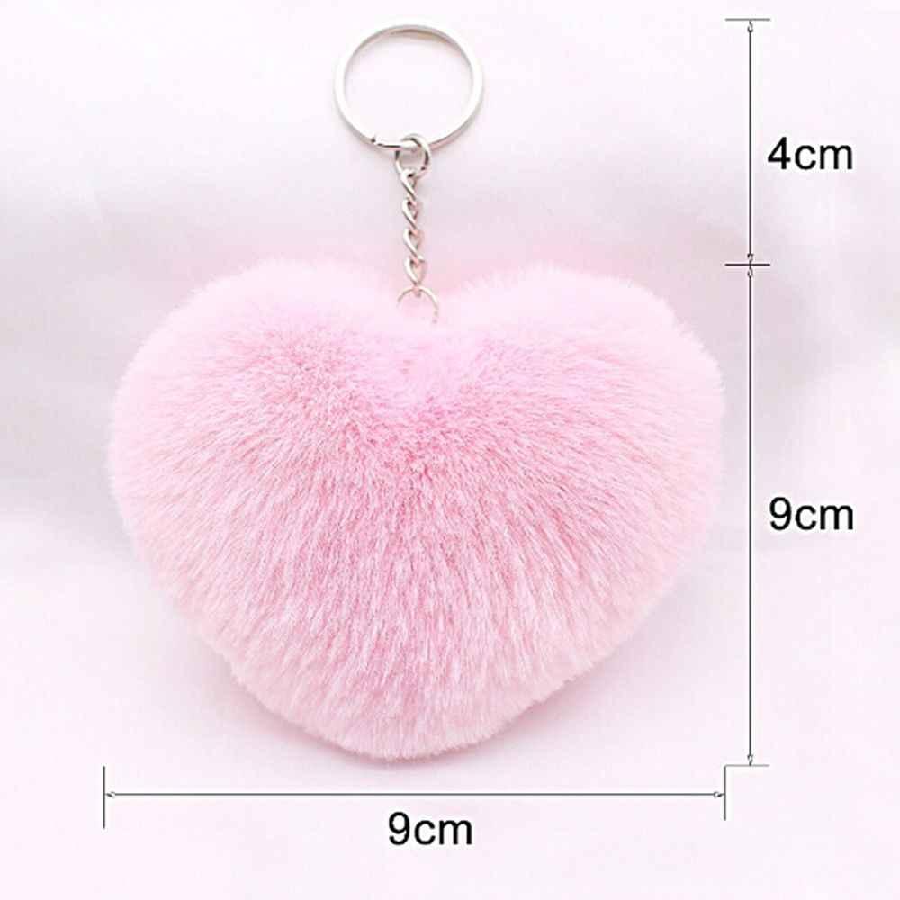 1 pc mais novo pompom fofo forma do coração chaveiro falso pele de coelho feminino pingente de carro chaveiro moda jóias carro bolsa pingente