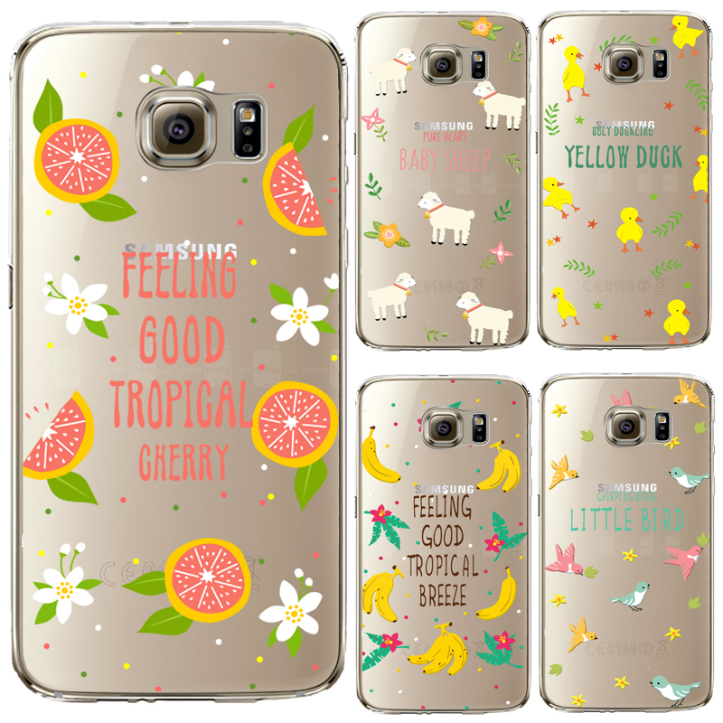TPU Cover For Samsung Galaxy S3 4 5 6 7 edge Plus Mini Note4 5 Case Pink Roses Lovely Rabbit Yellow Duck Painting High Quality