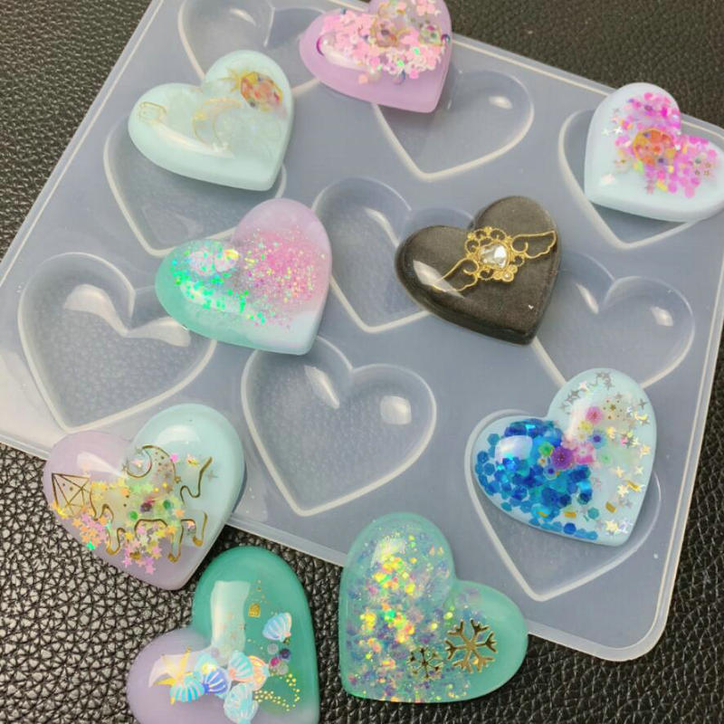 9 Cavity Clear Shiny Heart Silicone Mold DIY Resin Puffy Heart Charms Pink Molds Baking Tool Epoxy Jewelry Cabochons Making|DIY Craft Supplies| |  - title=