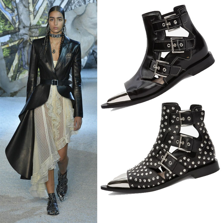 Moraima Snc Newest Black Leather Pointed Toe Rivets Studded Short Boots Sexy Cutouts Flat Riding Boots Woman Buckle Strap Shoes