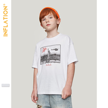 INFLATION Children Clothes Kids Tshirts Boys Tops Tees Cotton Printed Outdoor Streetwear Girls White T-shirts 19115S