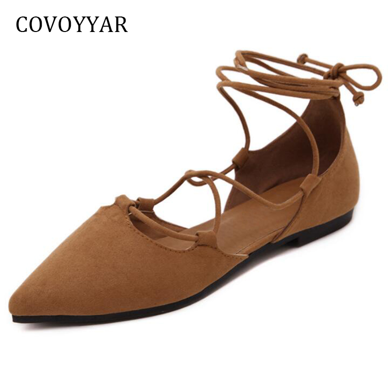 COVOYYAR 2018 Ankle Strap Women Ballet Flats Spring Summer Pointed Toe Gladiator Ladies Shoes Cross Tied Casual Shoes WFS827 цены онлайн