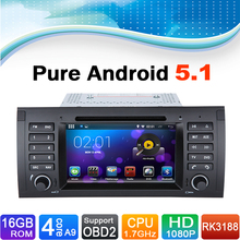 Pure android 5.1 System Car DVD GPS Navigation for BMW 5 Series E39, X5 Series E53 with bluetooth
