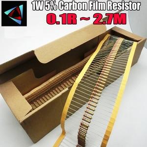 Image 1 - 1000 шт., резистор из углеродистой пленки 1 Вт 0,1r ~ 2,7 м 5%, 100R 220R 1K 1,5 K 2,2 K 4,7 K 10K 22K 47K 100K 0,22 0,33 0,47 0,68 Ом