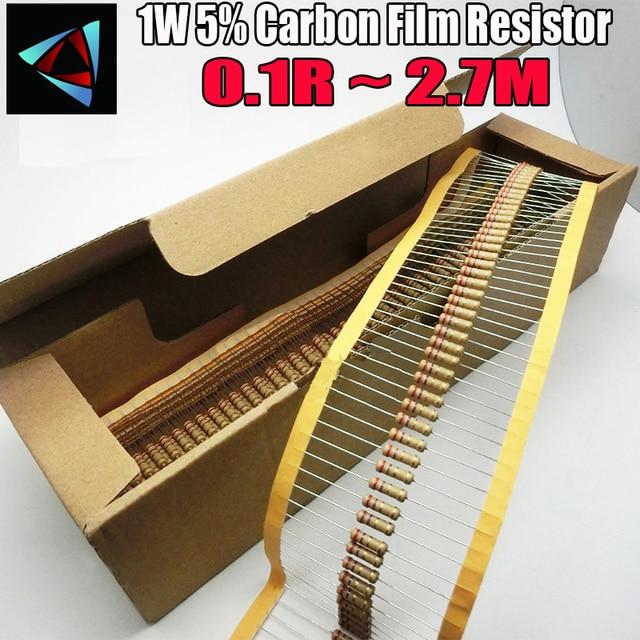 1000 шт., резистор из углеродистой пленки 1 Вт 0,1r ~ 2,7 м 5%, 100R 220R 1K 1,5 K 2,2 K 4,7 K 10K 22K 47K 100K 0,22 0,33 0,47 0,68 Ом