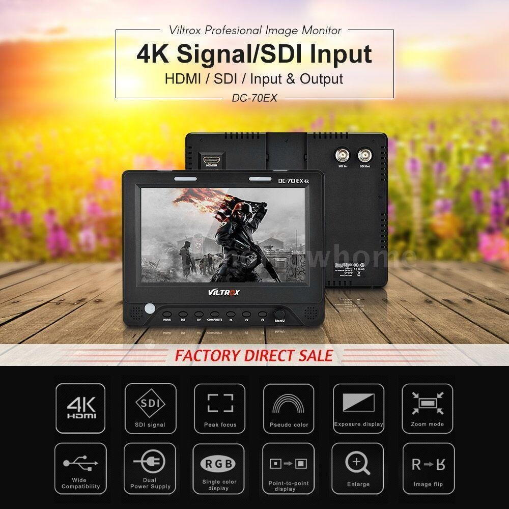 Новый 7 ''Viltrox DC 70EX HD клип на HDMI/SDI/AV Вход Выход Камера видео ЖК дисплей монитор дисплей для Canon/Nikon/Pentax/Olympus DSLR