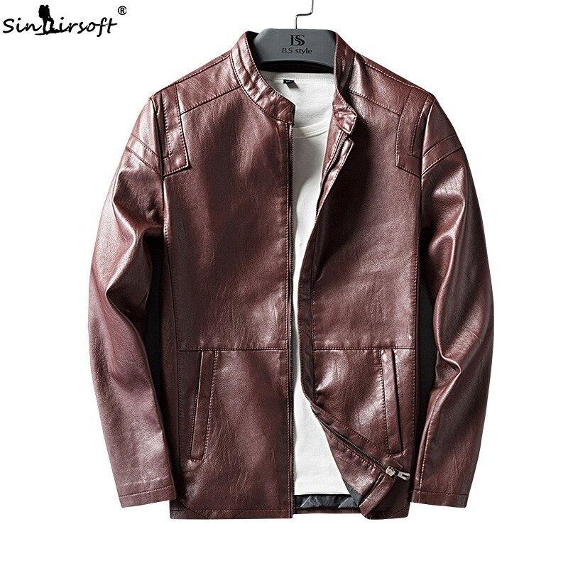 8155c73369652 Moto Automne Hommes Cuir Manteaux Homme Et Noir Veste Hiver Vêtements Pu  D affaires rouge Vestes ...
