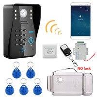 Беспроводной WI-FI RFID пароль распознавания видео-телефон двери Дверные звонки домофон Системы + Электрический замок + Управление доступом Пит...
