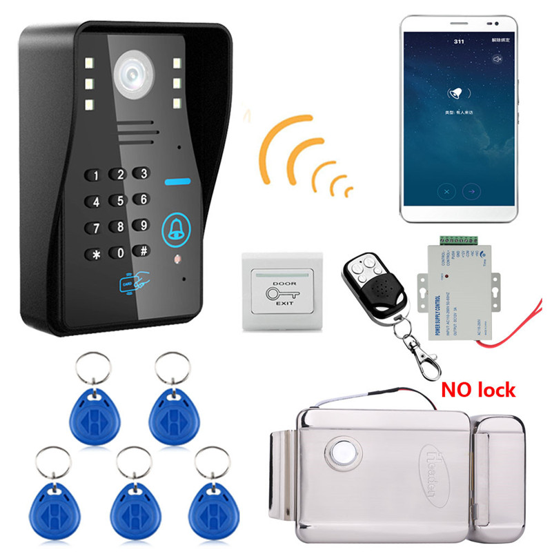 Wireless WIFI RFID Password Recognition Video Door Phone Doorbell Intercom System+ Electric Lock+Access Control Power Supply free shipping 7 lcd video door phone intercom system 2 screens rfid access code keypad password camera electric control lock
