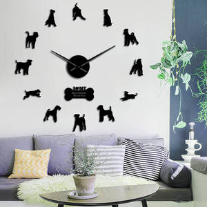 Airedale Terrier Dog Breed Figurine Contemporary DIY Wall Clock Animal Dogs Pets Companions Laser Cut Quiet Sweep Clock Watch(China)