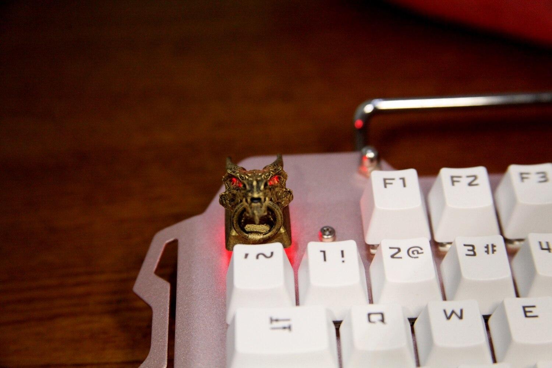 boné 3d estereoscópico teclado mecânico keycap para ouro dragão cabeça com anel