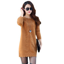 Women Sweaters Dress Pullovers 2019 New Winter Warm Long Knitted Sweater Knitwear Poncho Tunics Gray Black Pink Plus Size CM1093(China)