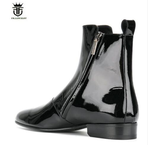 2019 FR. LANCELOT marka moda Chelsea buty ze skóry lakierowanej z boku na zamek błyskawiczny męskie buty trenerzy wysokiej góry niski obcas męskie buty Botas w Buty sztyblety od Buty na  Grupa 3