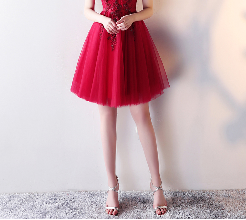 Appliques Beading Short Elegant Boat Neck Evening Dress