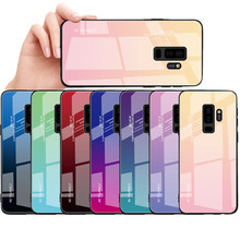 Tempered Glass Case For Samsung Galaxy S8 S9 S10 Plus S10e A5 2017 A7 A6 A8 J6 Plus J8 2018 Note 8 9 Aurora Colorful Cover(China)