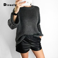 Direcly Solid color ladies sweater pullover loose knit O neck jacket autumn and winter long sleeved pullover women's shirt
