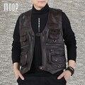 Мужчины браун натуральной кожи куртка пальто мужчины корова кожаный жилет 2 патч карманы декор весте cuir homme jaqueta де couro LT1121