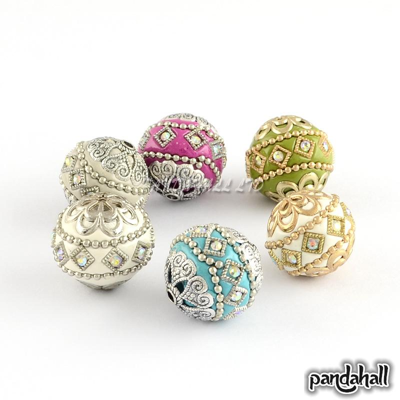 Round Handmade Grade A Rhinestone Indonesia Beads with Alloy Cores Mixed Color 19 5x20mm Hole 2mm