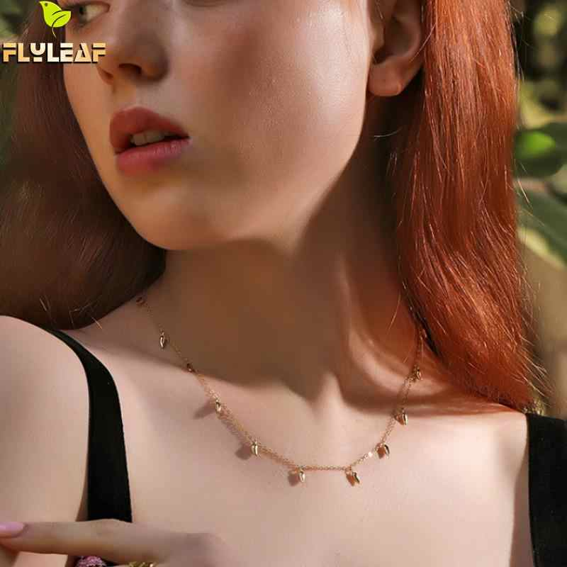 Flyleaf 18k Gold Necklace For Women Real 925 Sterling Silver High Quality Fashion Chain Fine Jewelry Simple Necklaces & Pendants