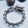 Beier pulseira do crânio do punk pulseira de aço inoxidável 316l para legal do dragão do estilo do vintage dos homens pulseira jóias bc8-019