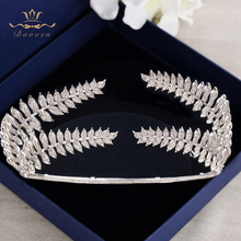 Bavoen European Oversize Wedding Hair Accessory Brides Zircon Crown Tiara Sparkling Crystal Hairbands Prom Hair Accessories bavoen luxury european pearls brides tiara headpieces zircon crystal wedding crowns evening hair accessories high quality