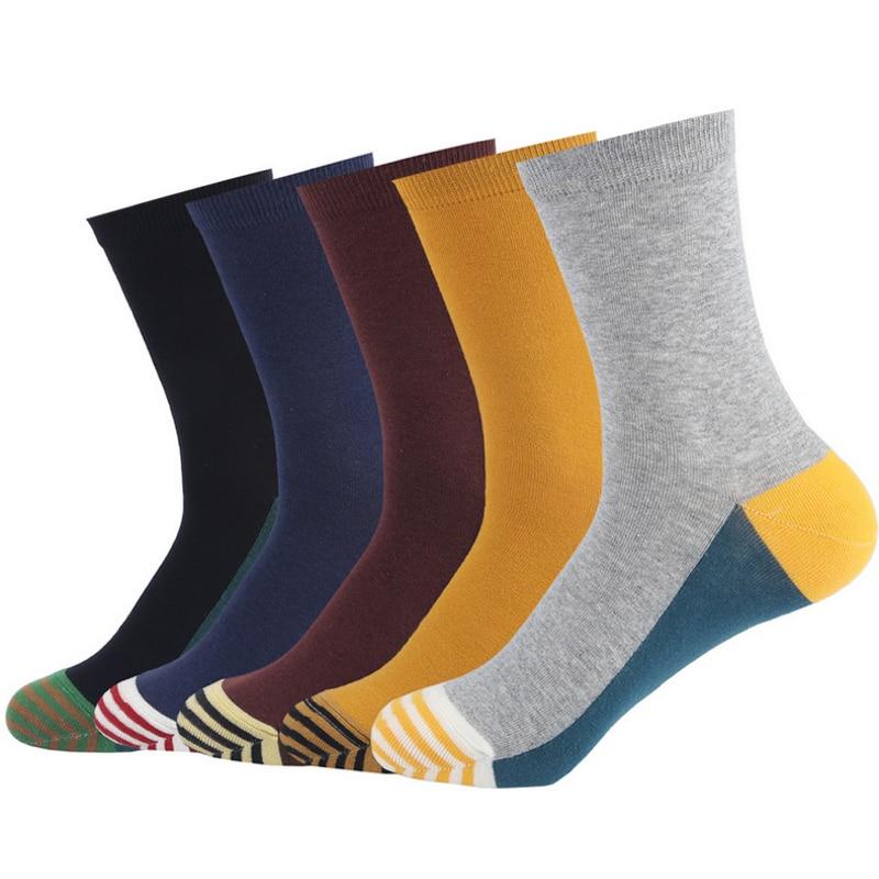 utumn winter creative fight color patterns cotton socks for men fashion high socks male dress socks 5pairs/lot