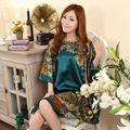 Nueva Llegada de Las Mujeres Chinas de Imitación de Seda Albornoz Bata Yukata Camisón Un Tamaño Flor Nuisette Pijama Mujer Un Tamaño Zh789F