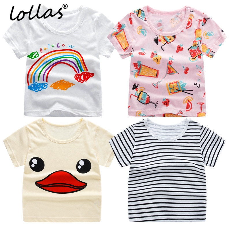 Lollas 2018 Summer New Baby Girl Boy T-shirt Girls Boys Tee Shirts For Children Short Sleeve T shirt Cotton Kids Clothes summer t shirts for boys cotton kids shirts dinosaur short sleeve pullover clothes v neck boy t shirt fashion children clothing