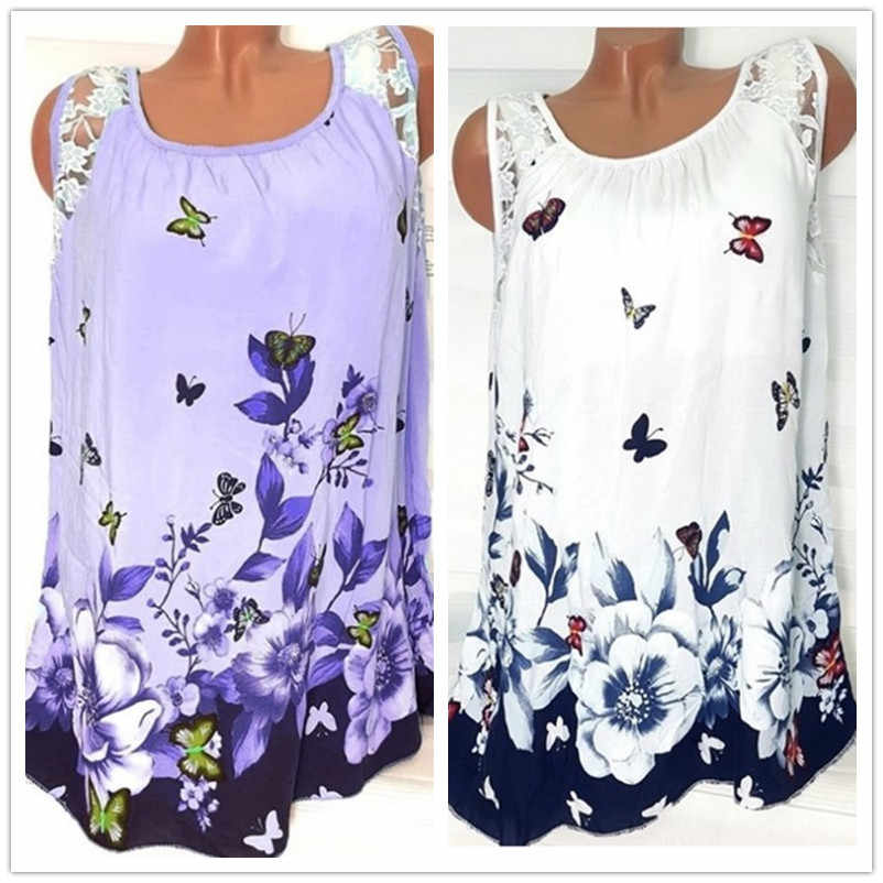 5XL Plus Size Vrouwen T-shirt 2019 Zomer Strand Sexy Tops Casual Mouwloze Kant Patchwork Vlinder Print T Shirt Vrouwen losse Top