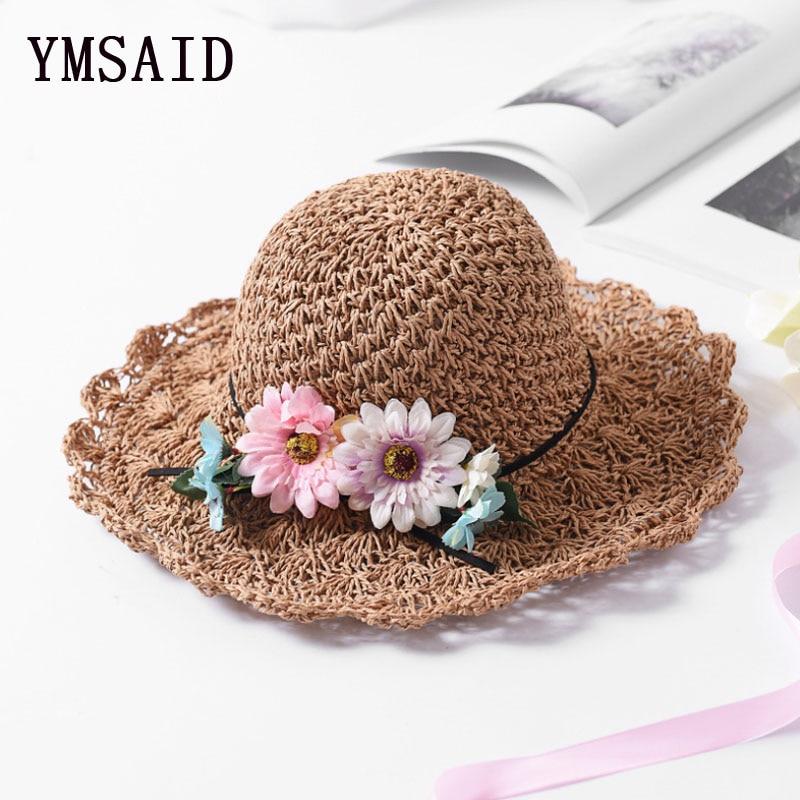 1fec0a053d0c2 Ymsaid Women Summer Large Brim Foldable Flower Beach Straw Hat Handmade  Crochet Panama Sun Hat Visor Female Protection Hat