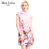 Max LuLu New 2017 Luxury Brand Summer Designer Chinese Style Women Vintage Dresses Pink Slim Woman Printed Clothing Big Size 5XL