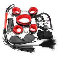 10 Pcs/set Sexy Lingerie PU Leather Sex Handcuffs bdsm Bondage Set Footcuff Whip Rope Blindfold Erotic Toys For Adults