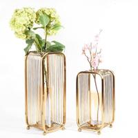 Floor Vases Europe Metal Gold Flower Vase Geometric Shape Road Lead Hollow Flower Holder for Home/Wedding Decoration Gifts G039