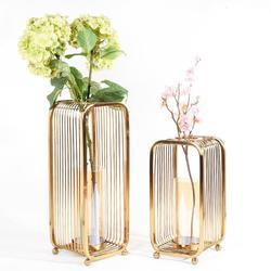 Wazony podłogowe europa Metal złoty wazon na kwiaty geometryczny kształt ołowiu drogowego z dziurką kwiaty uchwyt do domu/dekoracje na prezenty ślubne G039
