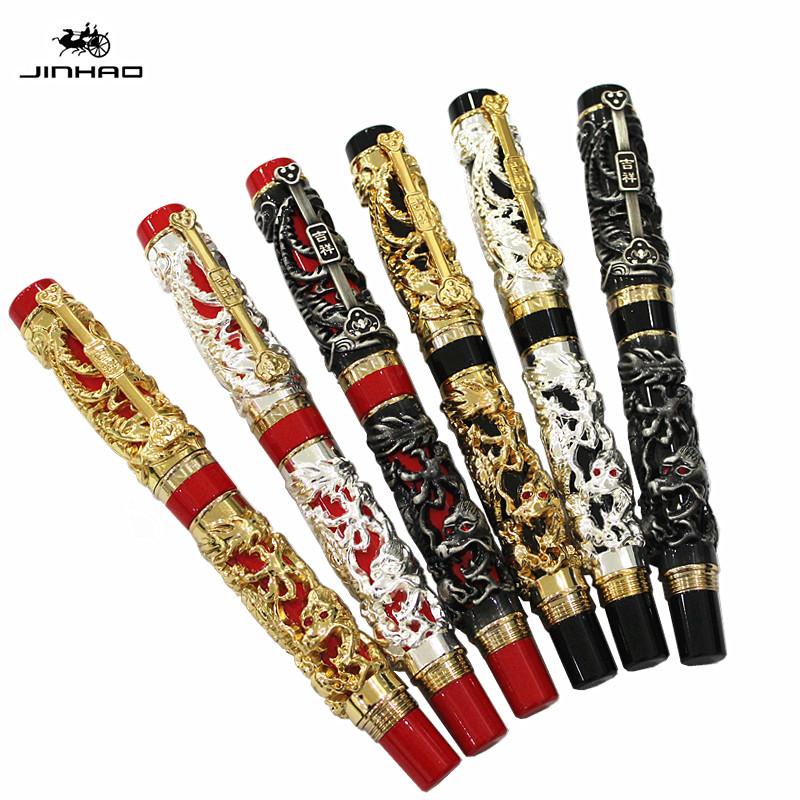 Jinhao Luxury Gold 3D Dragon and Phoenix Pattern Rollerball Pen High Quality Metal Ballpoint Pens for Writing Free Shipping latest design jinhao dragon and phoenix carving roller ball pen stationery luxury metal writing gift art collection pens