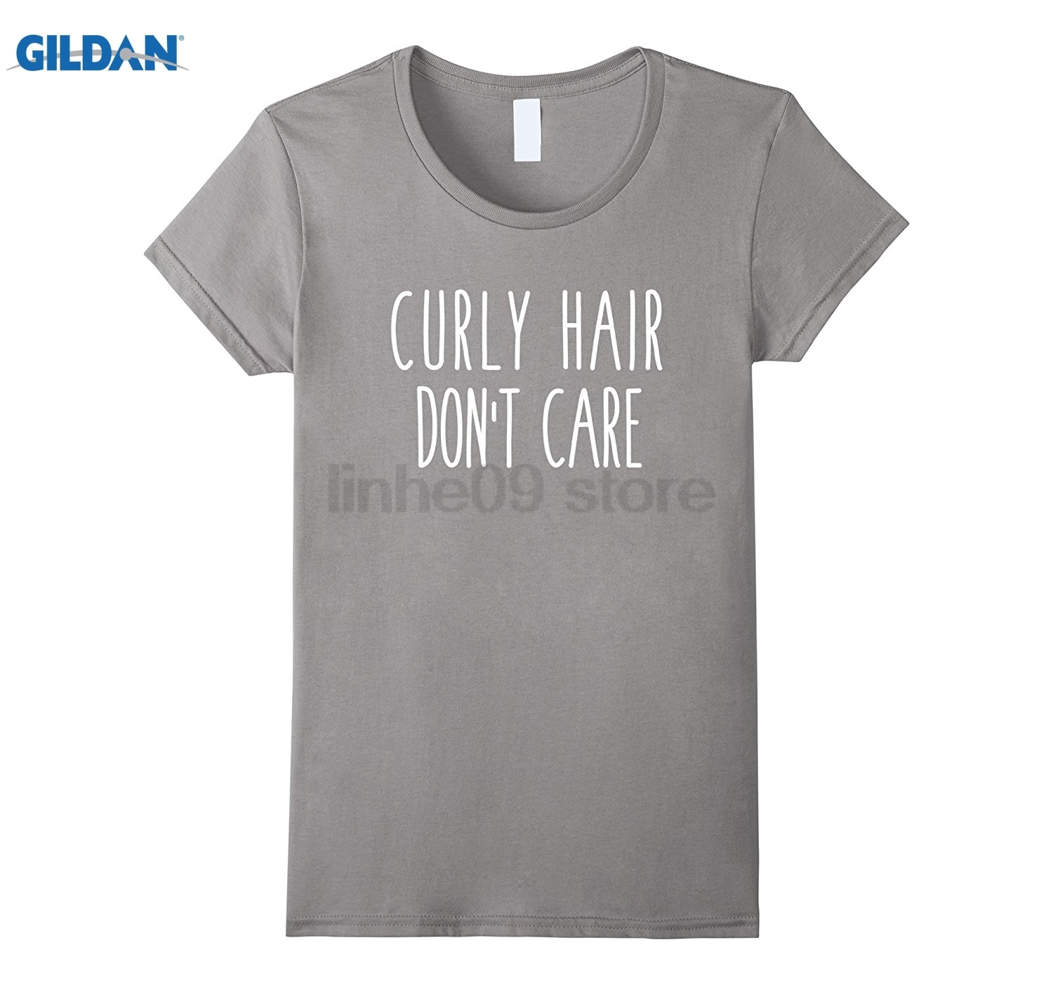 GILDAN Curly Hair Dont Care Funny Humor Saying Tee Womens T-shirt