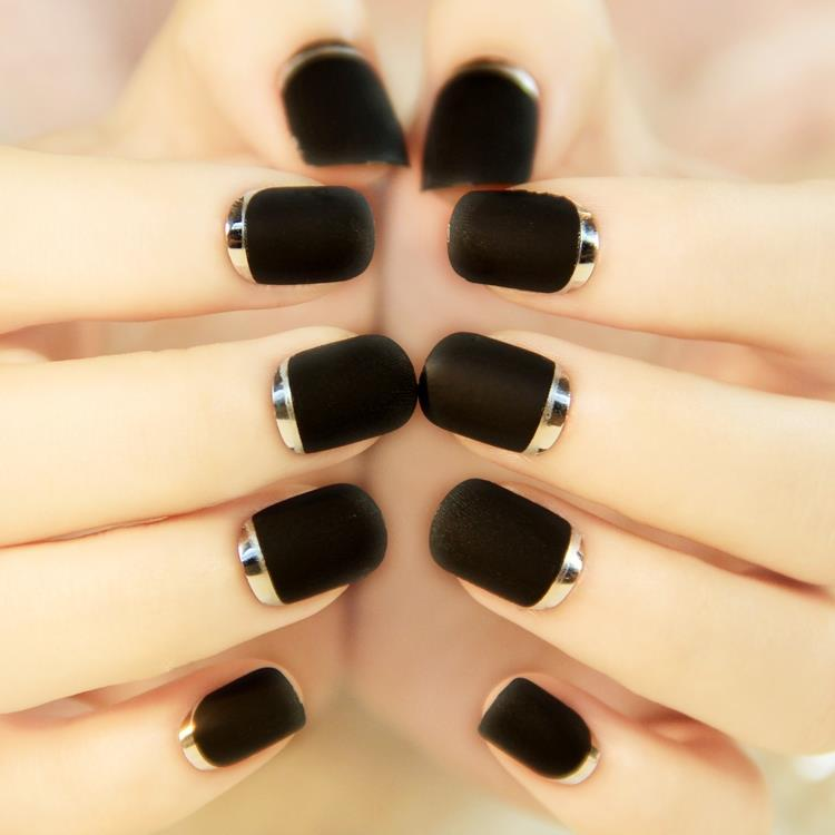 Black Matte Nail Art Tips Short Round Full Cover Faux Ongles Fake ...