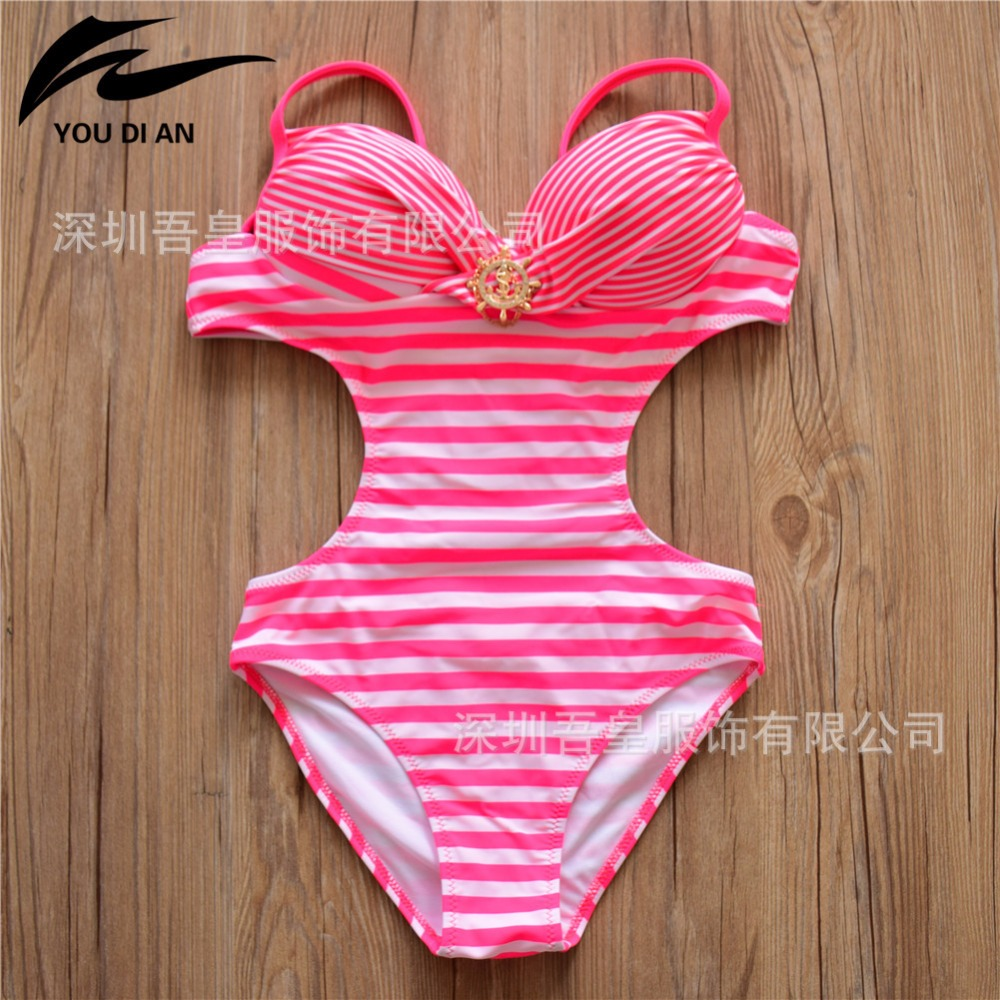 Brazilian Bikini 2017 Swimsuit One Piece Swimwear Women High Waist Bathing Suit Push Up Swimming Suit Beach Bikinis Set Striped купить