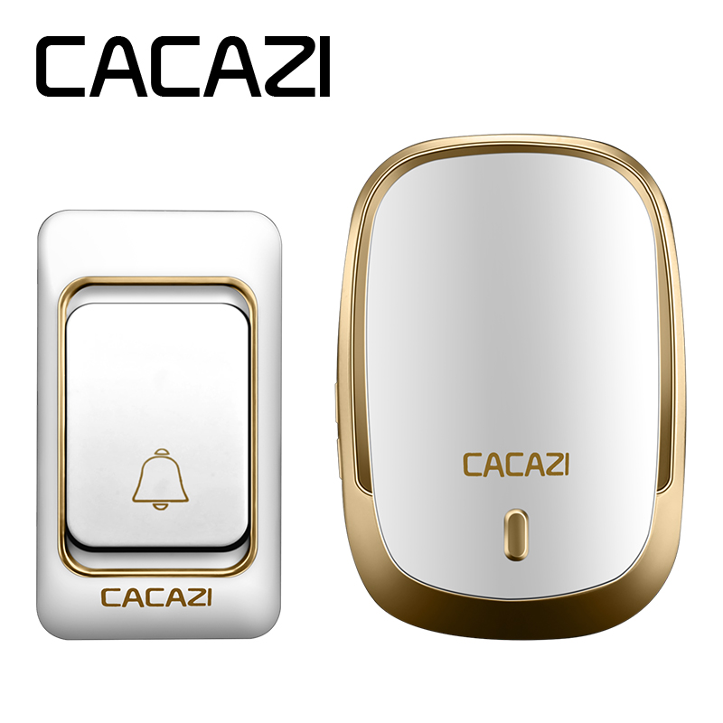 CACAZI K01AC Waterproof cover Wireless Doorbell ring 200M Remote EU/UK/US Plug home smart Door Bell 110-220V 1 button 1 receiver wireless cordless digital doorbell remote door bell chime waterproof eu us uk au plug 110 220v