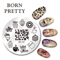 1 Pc Round 5.5cm BORN PRETTY  Nail Art Stamp Template Coffee Time Design Image Plate BP-91