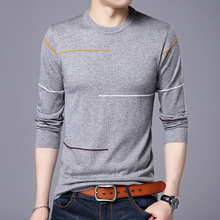 Fall 2018 young men's long sleeve line design round collar sweater business comfortable sweater